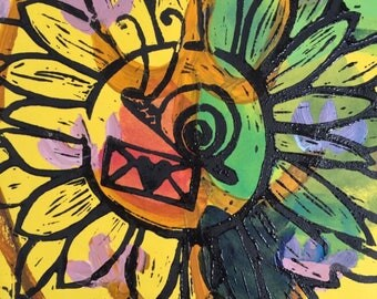 Original Ink And Acrylic Painting On Paper, Snail Mail Sunflower