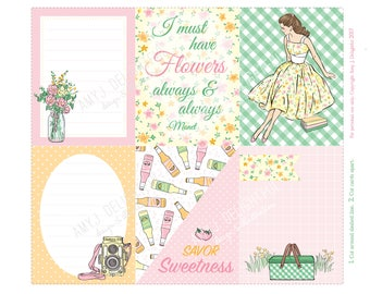 Retro Girl Picnic Journal cards/inserts-Digital File Instant Download-Planner Inserts, travelers journal, Project Life, flowers, summer