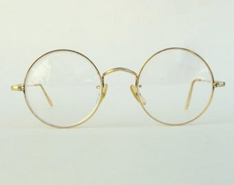 Eyeglasses, John Lennon, Harry Potter, Round Lens, Wire Frame, Algha 20, Gold Filled, Vintage