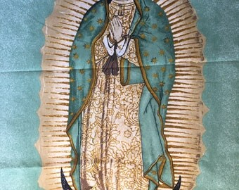 Virgen de Guadalupe Mexican Religious Fabric Panel