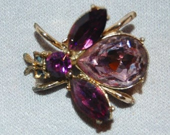 Rhinestone Bug Brooch, Amethyst Jelly Belly, Bee Wasp Insect, vintage old jewelry