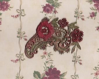 Hand Dyed Venise Lace Applique Edwardian Floral Paisley Edwardian Christmas