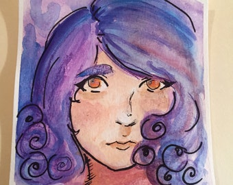 Violet Girl Watercolor Painting