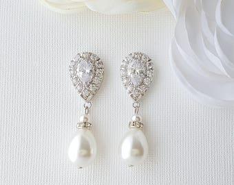 Crystal Bridal Earrings, Pearl Drop Earrings, Wedding Earrings, Bridesmaid Earrings, Crystal and Pearl, Wedding Jewelry, Sale