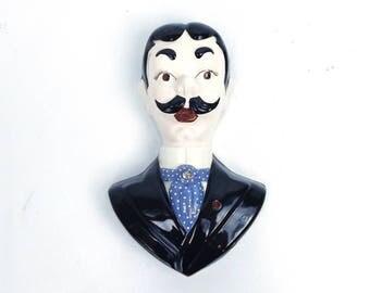 vintage 50s ceramic bust man dandy gentleman aristocrat socialite man men fancy mustache hair black suit blue polka dot necktie wall hang