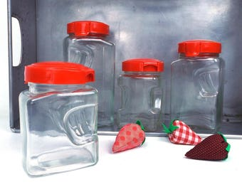 vintage art deco glass canister set of 4 containers storage 80s 1980s kitchen decoration home decor classic traditional flip top lid plastic