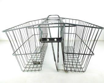 rear bike basket. double basket. metal wire basket. bicycle basket. metal bike basket. double sided basket. rear bike basket. vintage basket