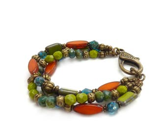 Orange, Lime Green & Teal Bracelet - Picasso Czech Glass Beads - Antique Bronze Clasp - Multistrand Bohemian Bracelet