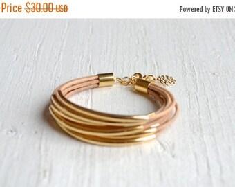 25% OFF - Natural Leather Cuff Bracelet with Gold Tube Beads - Minamalist Design Multi Strand Bangle Women's Bracelet ... by  B A L O O S