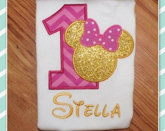 Embroidered Shirt - Birthday Shirt - Custom - Girl Mouse - Mouse with Bow - Gold and Pink