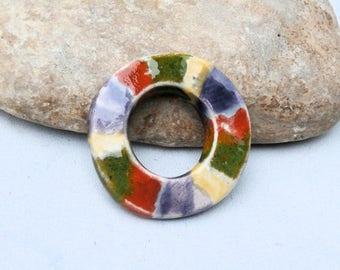 big doonut, ceramic pendant, handmade earthy supply