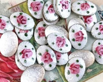 4 Vintage Guilloche cabochons,10x14 Vintage guilloche, Enamel Cabochons,Oval cabochons,Rose cabochons,Handpainted #G4CS vintagerosefindings