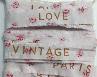 6 yards assort LOVE,PARIS,VINTAGE, rachel ashwell ,fabric,  pink ribbon ,shabby chic, embellishment,  gift wrap,  doll ribbon 3 1382