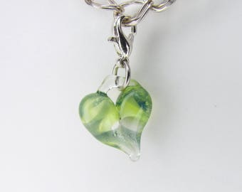 Green Glass Love Charm Pendant, Hand Blown Glass, Heart Clip, dangle, Boro Lampwork jewelry, Heart Charm Clasp, Valentine's Gift for Wife
