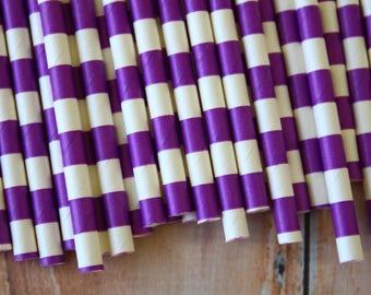 Purple Circle Stripe Paper Straws