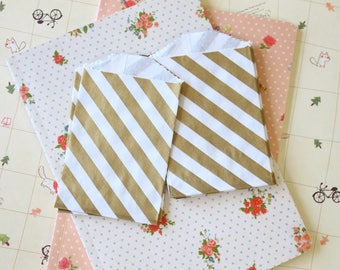 GOLD Diagonal Stripe Itty Bitty Bags small paper bags