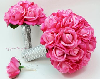 Reserved - Hot Pink Wedding Package - Bridesmaids Bouquets Toss Bouquet
