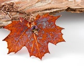 Copper Dipped Maple Leaf Pendant on Long Necklace, Real Leaf on 30 inch chain