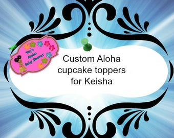custom Aloha cupcake toppers for (12 pieces)