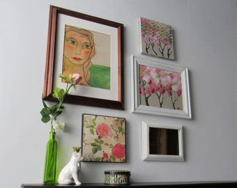 wall gallery - Bohemian Flower Girl- 5 pc vintage  wall art with mirror- feng shui