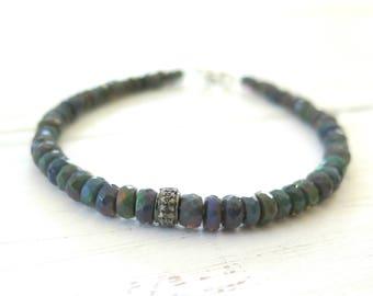 Opal Bracelet, Black Ethiopian Opal Stacking Bracelet, Pave Diamond Opal Stacking Bracelet, Genuine Opal, Birthstone Bracelet, Gifts for Her