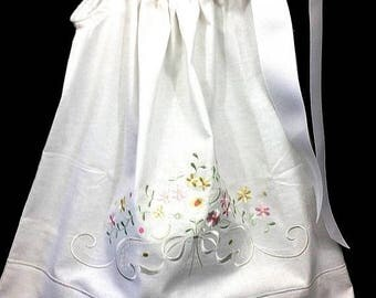 50% OFF 2T White Pillowcase Dress with delicate pastel floral embroidery