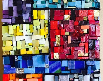 Mondrian Square Mosaic Art, wall art, home decor, art