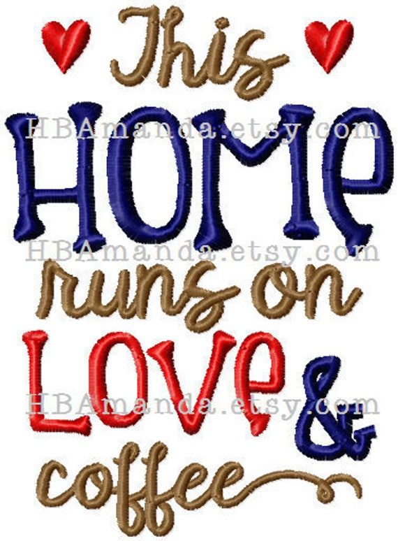 This HOME runs on coffee and love - Quote embroidery hand towel - Kitchen towel