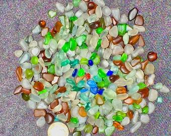 A-Sea Glass or Beach Glass of Hawaii beaches 300 Tiny  COBALT! RED! Aqua 4 LOCKETS and Bottles Beach Glass