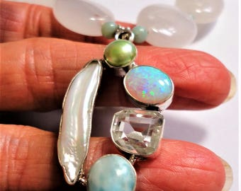 Favorite Gems of Opal, Herkimer Diamond, Larimar, Biwa and Round Natural Pearls in an Artisan Pendant w White Jade and Amazonite Necklace