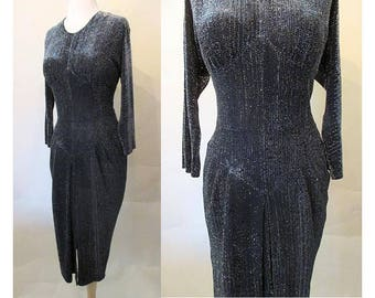 """Gorgeous 1940's/50's  """"Liquid"""" Black and Silver Lurex Cocktail dress """"batwing"""" sleeves  Tulip Skirt vintage Chic Rockabilly  Size medium"""