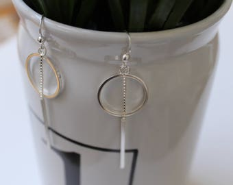 Geometric earrings, geometric jewelry, silver earrings, Dangle earrings, circle silver earrings, Silver Drop earrings, silver earrings
