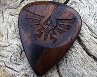 Wood Guitar Pick - Premium Handmade Quality - Exotic Cocobolo Rosewood - Laser Engraved On Each Side - No Stock Photos - Actual Pick