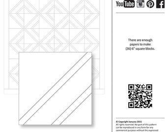 "Charm Elements 19 Foundation Papers - Diagonal Double Border Block - JNQ6X6017 - 6"" Inch Quilt Block Papers"