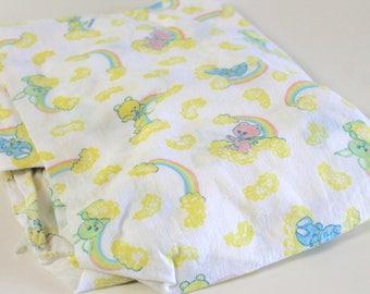 Vintage Crib Sheet - Yellow Nursery Decor - Baby Bedding - Unisex - Gender Neutral - Girl Boy