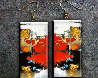 Abstract art polymer clay earrings