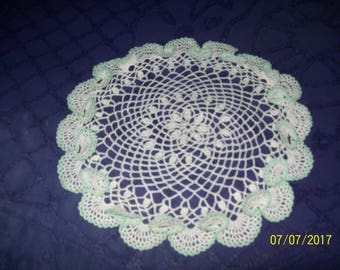 Set of two (2) White round doily with mint green trim and permanent ruffle