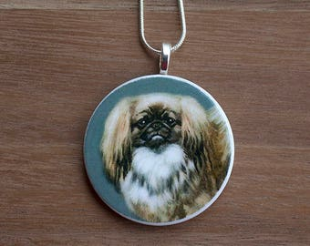 Pekingese Pendant Necklace, Pekingese Necklace, Pekingese Jewelry, Handcrafted Jewelry, Gift for Dog Lovers, Free Shipping in US