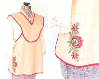 Vintage Apron  * Vintage Hostess Apron * Embroidered Apron * Pocket * OS