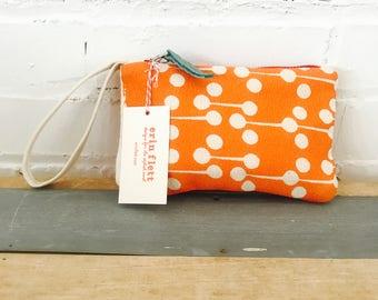 Orange Lolli Pop zipped wristlet, Ready To Ship Now