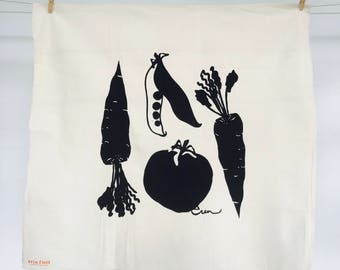 Black Veggie Tea Towel - READY TO SHIP
