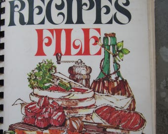 Vintage Recipe File Book with Handwritten Recipes Newspaper Recipes from 1940's Dozens of Recipes