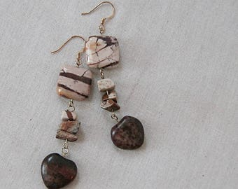 Zebra Jasper and Sesame Jasper Heart Earrings on Gold, Animal Print, Brown, Yellow, Gold