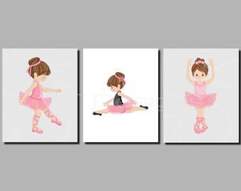 Ballerina Wall Art, Baby Girl Nursery Art, Pink Gray, Toddler Girls Wall Art, Dancers, Ballerinas, Set of 3 JPG Files, Printable