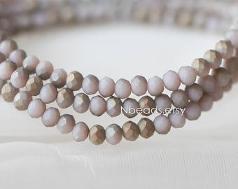 Matte Glass Rondelle 3x4mm, Chinese Crystal Faceted Beads, Frosted Lavender Copper (BZ04-159)/ 145 beads full strand