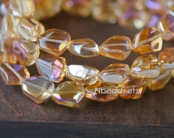 Crystal Glass Unique Stone Shaped beads 16mm, Sparkly Orange Rose (GM005-15)/ 48 beads