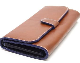 Tan leather purse, large wallet