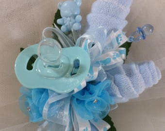Pin On Baby Shower Corsage   Unique Baby Boy Corsage   Floral Corsage    Pacifier And