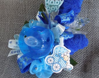 Pin On Baby Shower Corsage - Unique Baby Boy Corsage - Pacifier and Washcloths Corsage -  Blue Corsage - Corsage