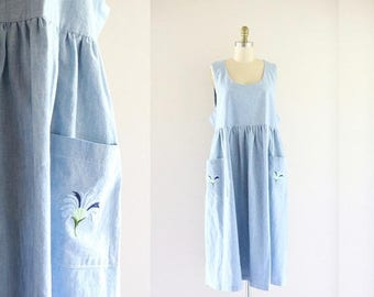 ON SALE oversized embroidered chambray market dress